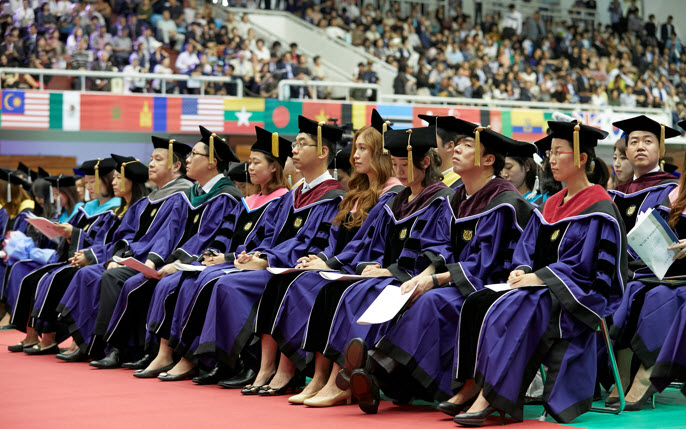 Graduating students in gown